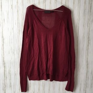 rock & republic Burgundy Sheer Panel Long Sl Top